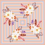 Sömlös modell för geometrisk vattenfärg för vattenfärg seaGeometric med fjädrar och anemonbuketter Fotografering för Bildbyråer