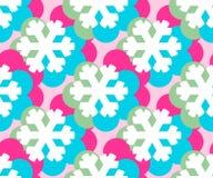 Sömlös modell för geometriska snöflingor Dekorativ bakgrund för vinterjul Illustration för snönedgångflingor stock illustrationer