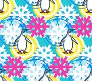 Sömlös modell för geometriska snöflingor med pingvinet Dekorativ bakgrund för vinterjul Illustration för snönedgångflingor stock illustrationer