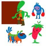 Sömlös modell för gigantiska för teckenvektor roliga för design för humor för emoticon för fantasi för monster unika djur för utt stock illustrationer