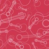 Sömlös modell för gitarr i linjen stil stock illustrationer