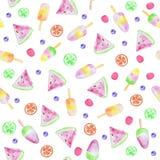 Sömlös modell för glass och för bär Bakgrund med vattenfärgvattenmelon, glass, frukt och bär royaltyfri illustrationer