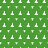 Sömlös modell för grön jul med små snöflingor, snö och julgranar Royaltyfria Foton