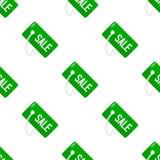 Sömlös modell för grön symbol för Sale etikettslägenhet Arkivfoto