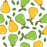 Sömlös modell för gröna och gula päron Royaltyfri Foto