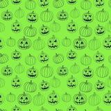 Sömlös modell för grönt halloween vektortryck med stålar-nolla-lykta pumpa royaltyfri illustrationer