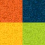 Sömlös modell för grafisk design med linjära symboler royaltyfri illustrationer