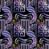 Sömlös modell för grekisk dekorativ vektor prydnad för abstrakt begrepp 3d royaltyfri illustrationer