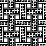 Sömlös modell för grekisk svartvit vektor Flätad grektangent Royaltyfri Illustrationer