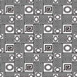 Sömlös modell för grekisk svartvit vektor geometriskt modernt Vektor Illustrationer