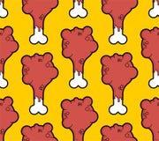 Sömlös modell för grillad fegt ben m?nga bakgrundsklimpmat meat mycket Barntorkduketextur stock illustrationer