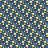 Sömlös modell för gul svärdslilja på en blå bakgrund, vattenfärgillustrationblommor stock illustrationer