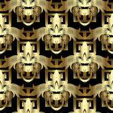 sömlös modell för guld- blom- tangent för grek 3d Tappningvektorbackgr vektor illustrationer