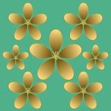 Sömlös modell för guld- blomma Royaltyfria Bilder