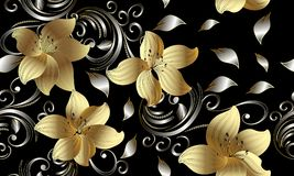 sömlös modell för guld- blommor 3d vektor för detaljerad teckning för bakgrund blom- Tappning 3 Royaltyfri Bild