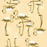 Sömlös modell för guld- flamingo Arkivfoton