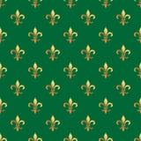 Sömlös modell för guld- fransk lilja Guld- mall Blom- klassisk textur Retro bakgrund Fleur de lis för kunglig lilja Designvint Arkivfoton