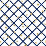 Sömlös modell för guld- hjärta Blåvit geometrisk garnering, guld- konfetti-hjärtor Symbol av förälskelse, valentindag stock illustrationer