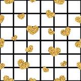 Sömlös modell för guld- hjärta Svart-vit geometrisk fyrkant, guld- konfetti-hjärtor Symbol av förälskelse, valentindagferie royaltyfri illustrationer