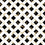 Sömlös modell för guld- hjärta Svart-vit geometriska band, guld- grungekonfetti-hjärtor Symbol av förälskelse, valentindag stock illustrationer