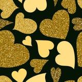 Sömlös modell för guld- hjärtor Arkivbild