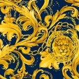 Sömlös modell för guld- kedjor Lyxig illustration Guld- snöra åt Lyxig design tappningrikedom royaltyfri illustrationer