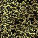 Sömlös modell för guld- lotusblomma Royaltyfri Bild