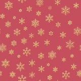 Sömlös modell för guld- snöflingor på en röd bakgrund 10 eps royaltyfri illustrationer