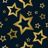 Sömlös modell för guld- stjärnor Royaltyfria Foton