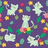 Sömlös modell för gullig katt med blomman på färgrik bakgrundsvektorillustration Tecknad filmstil stock illustrationer