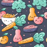 Sömlös modell för gullig mat för tecknad film sund i klotterstil Kawaii tecken morot, päron, äpple, lax, mysli vektor illustrationer