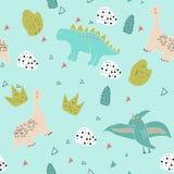 Sömlös modell för gulliga dinosaurier royaltyfri illustrationer