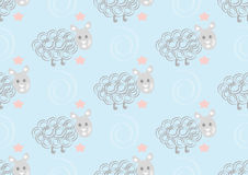 Sömlös modell för gulliga får på rosa prickbakgrund Fotografering för Bildbyråer