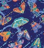 Sömlös modell för gulliga fjärilar Färgrik vektoryttersidadesign Royaltyfri Fotografi