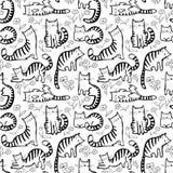 Sömlös modell för gulliga katter Bakgrund med hand dragen klotterki vektor illustrationer
