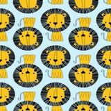 Sömlös modell för gult lejon stock illustrationer