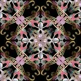 Sömlös modell för härlig blom- vektor för grek 3d Dekorativ modern bakgrund Lyxig bakgrund för repetition Färgrik etnisk stil royaltyfri illustrationer