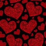 Sömlös modell för härlig för valentin` s vektor för dag med scharlakansröda hjärtor stock illustrationer