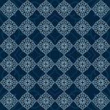 Sömlös modell för härlig mandala på blå bakgrund stock illustrationer