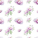 Sömlös modell för härlig vit pion Bukett av blommor var kan olik blom- anv?nd illustrationavsikttextur Mark?rteckning royaltyfri illustrationer