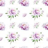 Sömlös modell för härlig vit pion Bukett av blommor var kan olik blom- anv?nd illustrationavsikttextur Mark?rteckning stock illustrationer