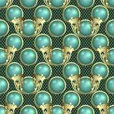 Sömlös modell för härliga sfärer 3d Dekorativ texturerad prickbakgrund för vektor Turkos 3d klumpa ihop sig med guld- ramar vektor illustrationer