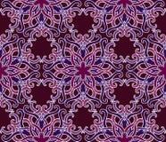 Sömlös modell för härligt vektortryck Mandala Flowers med körsbärsröd bakgrund Fotografering för Bildbyråer