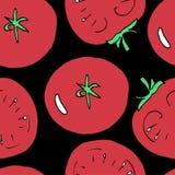 Sömlös modell för handattraktion av tomaten också vektor för coreldrawillustration stock illustrationer