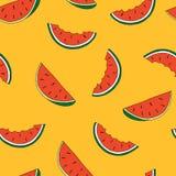 Sömlös modell för handattraktion av vattenmelon också vektor för coreldrawillustration vektor illustrationer