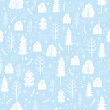 Sömlös modell för hemtrevlig jul som göras av vinterträd och snöflingor Arkivbild