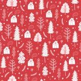 Sömlös modell för hemtrevlig jul som göras av vinterträd och snöflingor Arkivbilder
