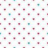 Sömlös modell för hjärta, ändlös textur Röda hjärtor på vit bakgrund, vektorillustration Modell för dag för valentin`s vektor illustrationer