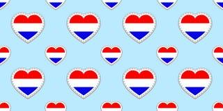 Sömlös modell för Holland flagga Den nederländska vektorn sjunker stikers Förälskelsehjärtasymboler Bra idé för språkkurser, spor stock illustrationer