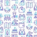 Sömlös modell för invandring med den tunna linjen symboler royaltyfri illustrationer